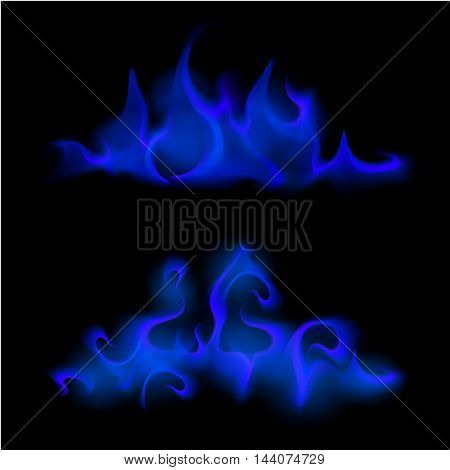 Vector Set of  Different Blue Fire Flame Bonfire  Isolated on Background