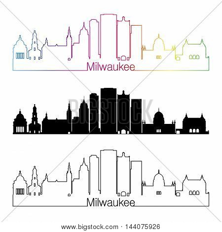 Milwaukee skyline linear style with rainbow in editable vector file