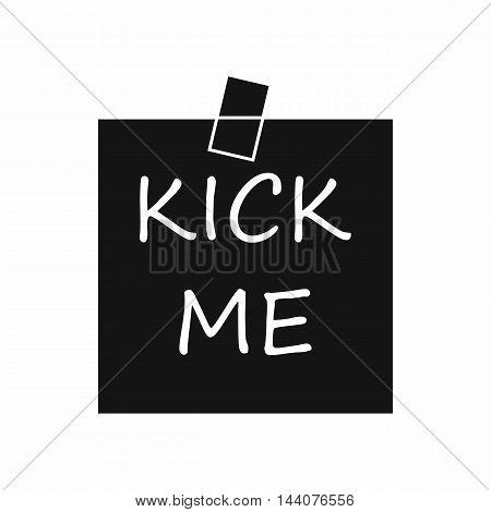 Inscription kick me icon in simple style isolated on white background. Jest symbol