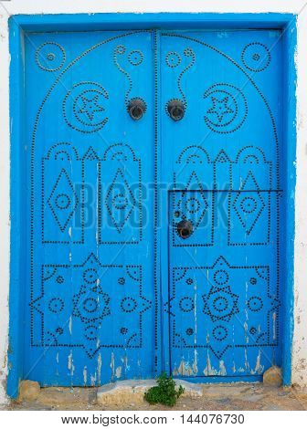 Blue Wooden Aged Door With Arch From Sidi Bou Said