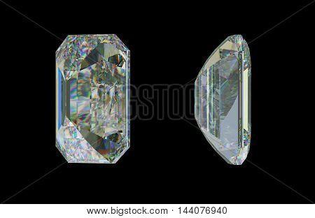 Side Views Of Emerald Cut Diamond On Black