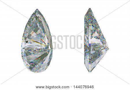 Side Views Of Pear Cut Gemstone Or Diamond On White