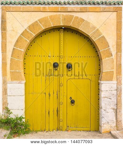 Yellow Gates With Door And Ornament From Sidi Bou Said
