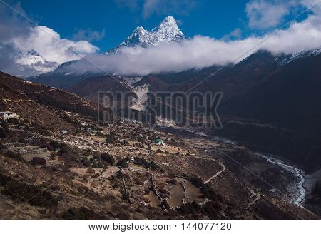 Ama Dablam And Nepalese Village In Himalayas