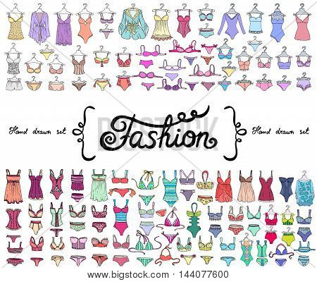 Vector set with hand drawn colored doodles on the theme of fashion. Flat illustrations of lingerie and swimsuits for women. Sketches for use in design