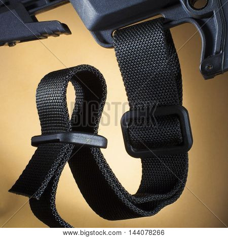 One inch nylon sling attached to the butt stock of an AR-15