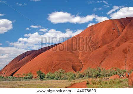 Iconic landmark and monolith Uluru (Ayer's Rock) in the red centre, Northern Territory, Australia