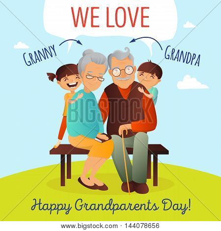 Grandparents Day vector concept. Illustration with happy family. Grandfather, grandmother and grandchildren. Cute old couple greeting card.