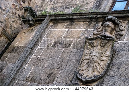 Medieval symbol in Caceres in Spain Europe
