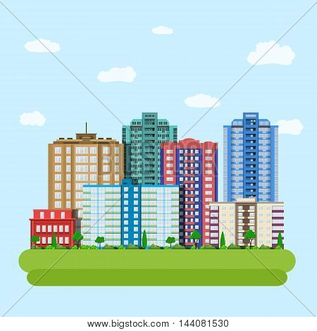 Modern city downtown green centre with tall buildings day skyline and clouds. Vector illustration in flat style