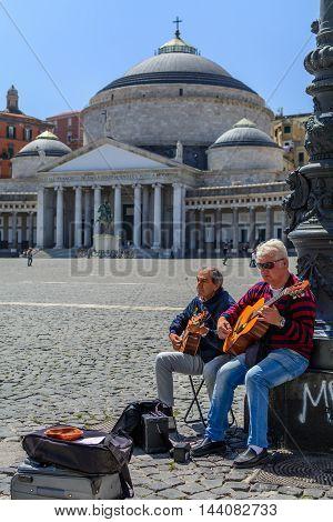 Naples (Napoli) Italy - June 10: Piazza del Plebiscito June 10 2016 in Naples Italy. Naples is the capital of the Italian region Campania.