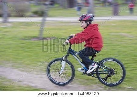 Child Riding His Mountain Bike