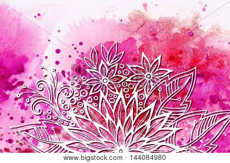 Calligraphic Vintage Pattern, Symbolic Flowers and Leafs, Abstract Floral Outline Ornament, White Contours on Colorful Hand-Draw Watercolor Painting Background
