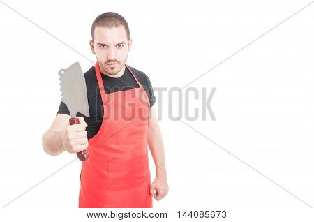 Serious Male Butcher Showing Meat Chopper