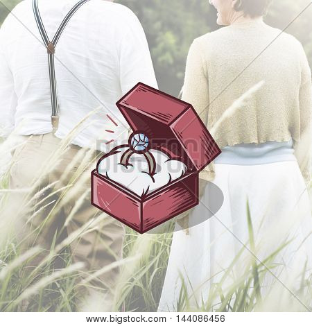 Engagement Ring Box Illustration Concept