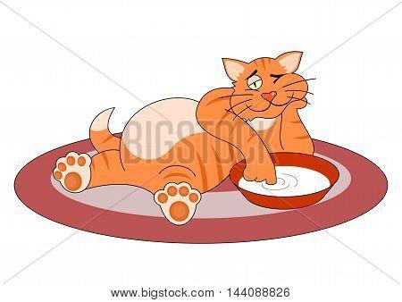 Fat cat - Vector illustration - EPS .