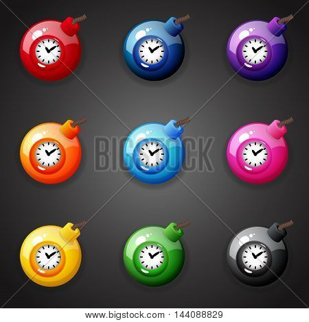 Set of colorful Bombs For Match Three Game