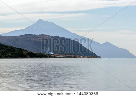 Panoramic view to mount Athos, Self-governed monastic state of Mount Athos, Greece