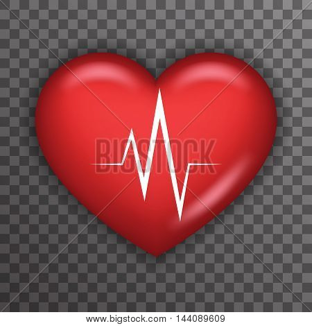 Heart Beat Rate Pulse Realistic Healthcare Medical Care Symbol Beat Rate Transparent Background Icon Template Mock up Design Vector Illustration