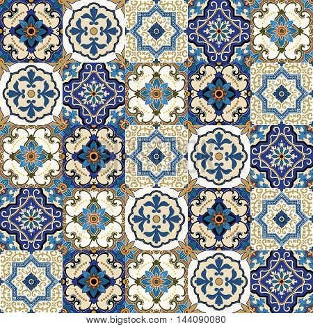 Mega Gorgeous seamless patchwork pattern from colorful Moroccan, Portuguese tiles, Azulejo, ornaments.. Can be used for wallpaper, pattern fills, web page background, surface textures.