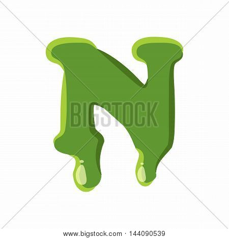 Letter N from latin alphabet with numbers and symbols made of green slime. Font can be used for Halloween design and other purposes