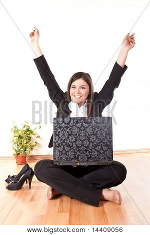 Businesswoman Celebrating