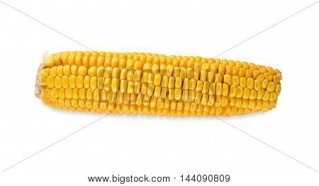 One yellow corncob isolated on white background. Closeup image of corn vegetable, healthy natural organic food