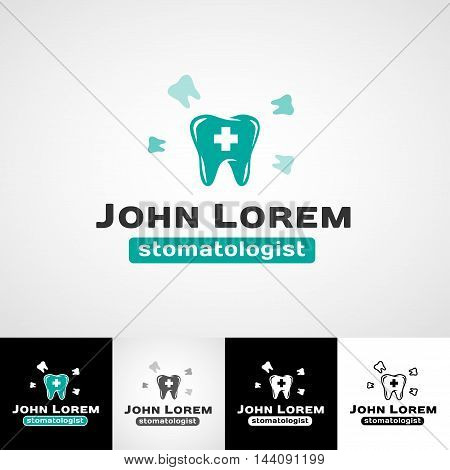 Creative dental logo template. Teethcare icon set. dentist clinic insignia, stomatologist practice sign, orthodontist illustration, teeth vector design, oral hygienist concept for stationary, tooth branding t-shirts picture, business card graphic, medical