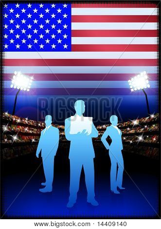 USA-Business-Team am Stadion Hintergrund mit Flag Original Illustration