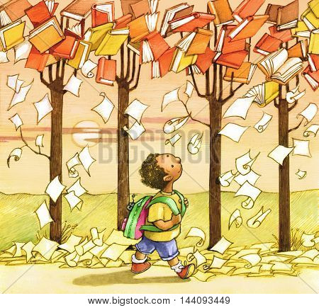 a child walking towards the school and the trees loaded with books pages as if they were falling leaves in autumn
