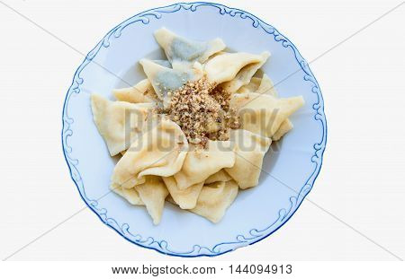 traditional slovakia filled dumplings with curd and nut streusel
