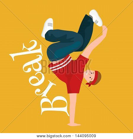 Teenager boy dancing hip hop style isolated vector illustration. Young cool dancer break dance, sexy men modern dancing, break pose balance, funky male dancer vector illustration