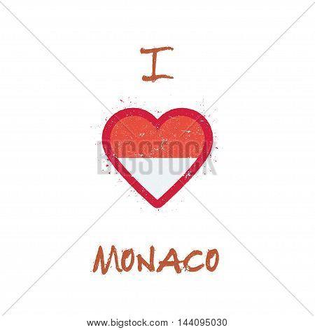 I Love Monaco T-shirt Design. Monegasque Flag In The Shape Of Heart On White Background. Grunge Vect