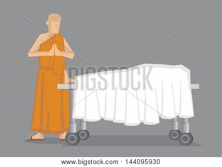 Cartoon vector illustration of a Buddhist monk in yellow robe standing with palms together by dead body covered in white sheet on wheeled bed.