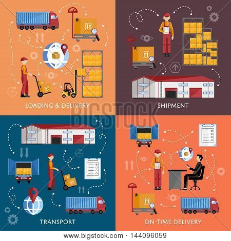 Warehouse process infographics four banners. Supply chain illustration. Logistic concept vector illustration. Forklift on the work. Logistic concept. Warehouse process icons. Logistics management. Logistic transport.