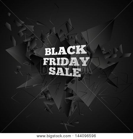 Black friday sale, Abstract black explosion, Vector illustration