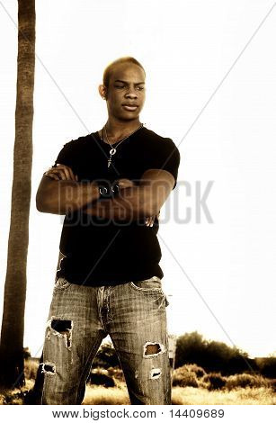 Outdoor portrait of a stylish handsome young man poster