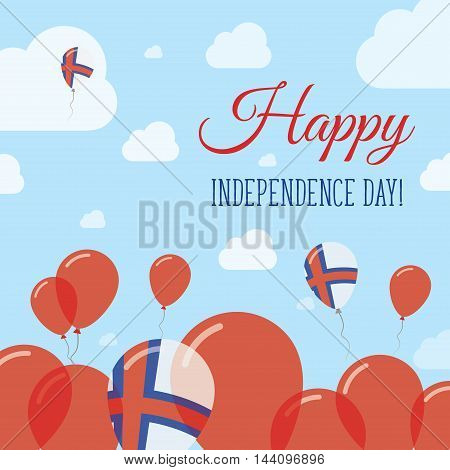 Faroe Islands Independence Day Flat Patriotic Design. Faroese Flag Balloons. Happy National Day Vect