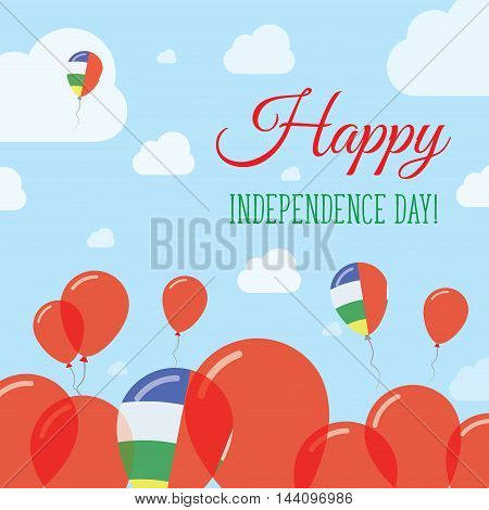 Central African Republic Independence Day Flat Patriotic Design. Central African Flag Balloons. Happ