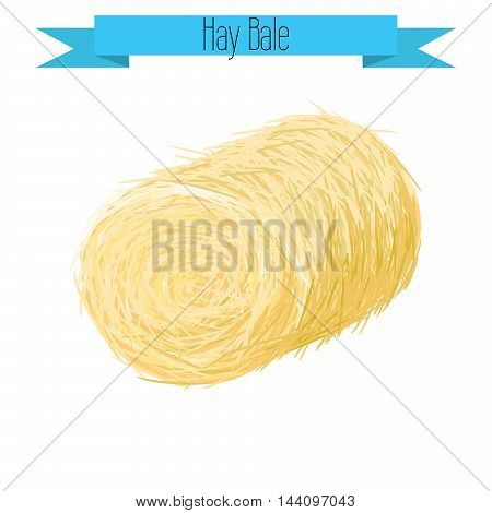 Hay bale vector illustration on white. Straw bale isolated.