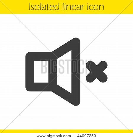 Sound off linear icon. Thin line illustration. Speaker volume mute contour symbol. Vector isolated outline drawing
