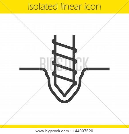 Drilling linear icon. Thin line illustration. Rotating mining drill bit contour symbol. Vector isolated outline drawing