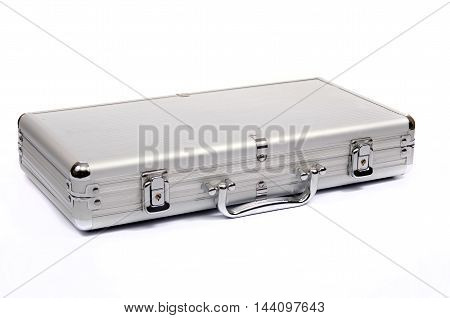 Metallic suitcase on white background metalic briefcase isolated