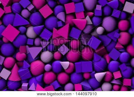 3d illustration texture with geometric shapes cones cubes and spheres
