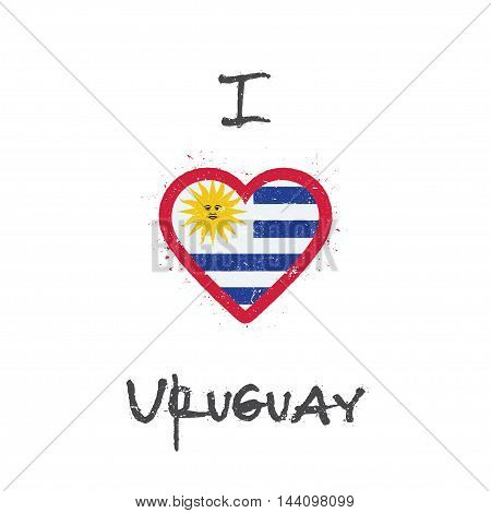 I Love Uruguay T-shirt Design. Uruguayan Flag In The Shape Of Heart On White Background. Grunge Vect