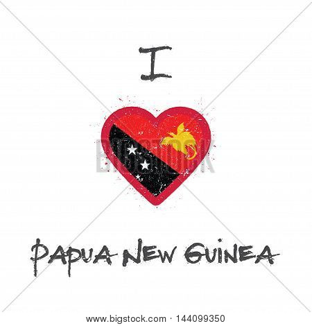 I Love Papua New Guinea T-shirt Design. Papua New Guinean Flag In The Shape Of Heart On White Backgr
