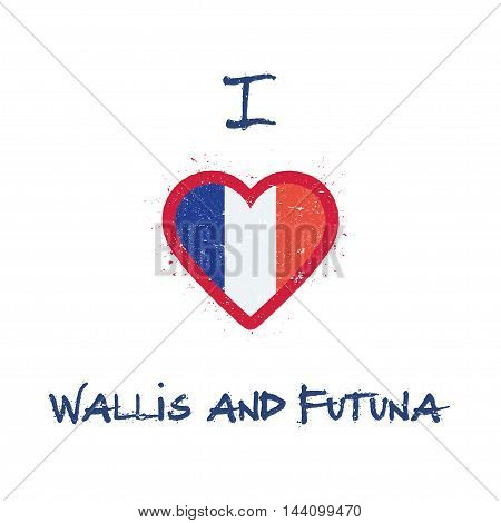 I Love Wallis And Futuna T-shirt Design. Wallis And Futuna Islander Flag In The Shape Of Heart On Wh