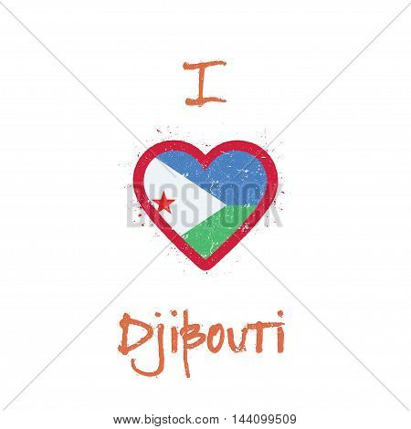 I Love Djibouti T-shirt Design. Djibouti Flag In The Shape Of Heart On White Background. Grunge Vect
