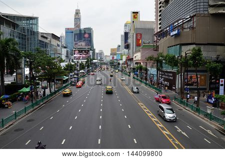 BANGKOK THAILAND - JUN 29 2016: Traffic on a busy city centre road in Bangkok Thailand. Each year an estimated 150000 cars join the heavily congested streets of the Thai capital.