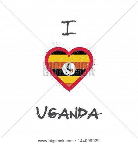 I Love Uganda T-shirt Design. Ugandan Flag In The Shape Of Heart On White Background. Grunge Vector